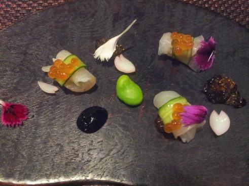 tai sashimi topped with ikura - so pretty (every item edible!)