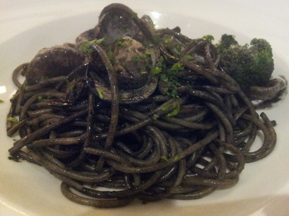 seafood spaghetti in squid ink sauce