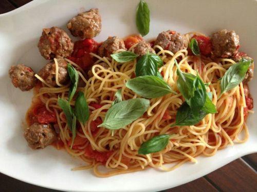 beef meatballs arrabiata spaghetti