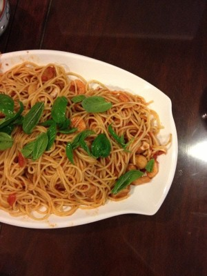 seafood arrabiata spaghetti