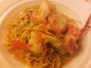 baked prawns with noodles in superior sauce