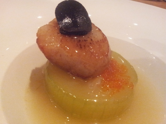 black turffle on hokkaido scallop with gourd