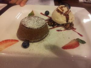chocolate lava cake with vanilla ice cream