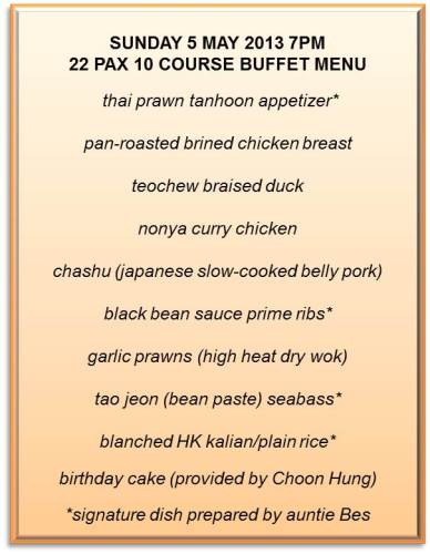 55yrs Get Together - Andy Homecooked 22pax Buffet Menu 7pm Sunday 5.5.2013