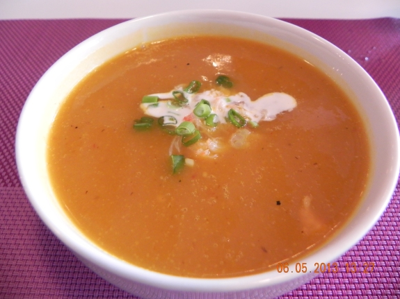 tom yam pumpkin soup with tiny lobster morsels
