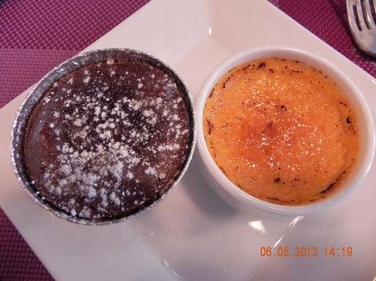 tiny dual dessert - choc lava cake & lobster creme brulee