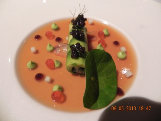 prawn cannelloni on crustacean jelly decorated with ikura & topped with oscietra cavier