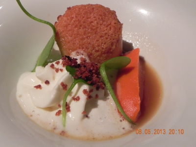 bread & butter crusted Norwegian scallop with pumpkin puree