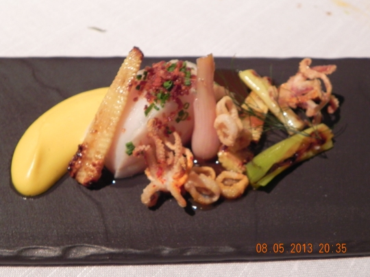 confit atlantic turbot with squid, grilled leek