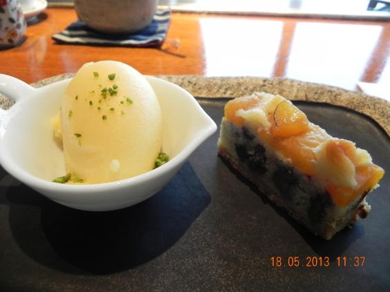 cake & sorbet dessert