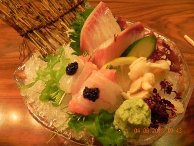 hamachi,tai wrapped over negi toro topped with caviar,mirugai