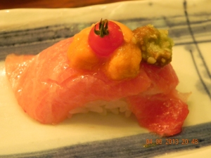 very marbled otoro topped with uni