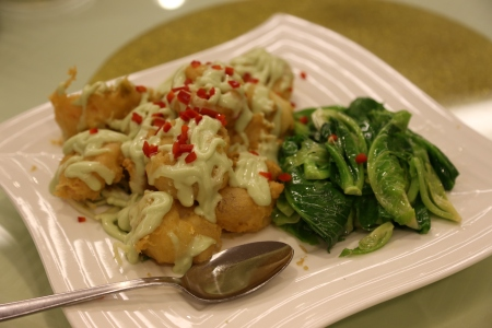 wasabi mayo prawn fritters with Thai kailan