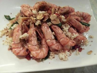 deepfried prawns with popcorn etc in XO sauce
