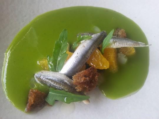 pickled anchovies, orange salad & olives & chilled fennel soup