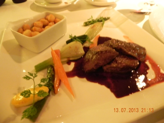 pan-fried venison rare -