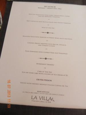 La Villa S$30pax set lunch menu