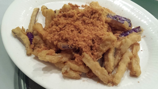deep fried eggplant with meat floss