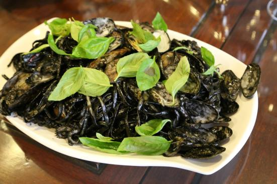 squid-ink seafood linguine