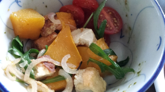 pumpkin, cherry tomatoes, deepfried tofu, red onion salad