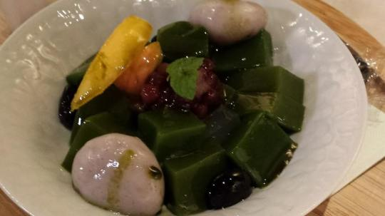 greentea jelly mochi dessert at L10 ramen village kyoto station