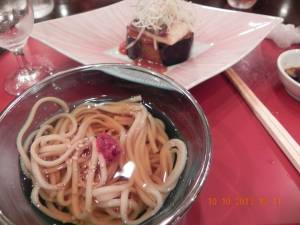soba & fish with miso