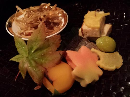 sensai (前菜) platter - tofu, ginko nuts, a momiji (maple) flour cake. chestnut etc