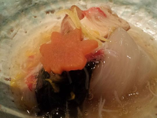 steamed crabmeat, tofu, seaweed, melon dish