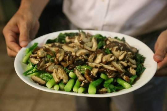 blanched HK kailan with shitake
