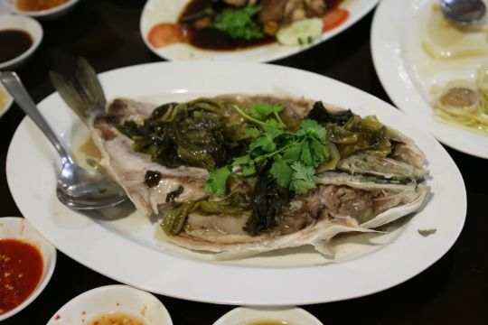 steamed mullet with salted vegetables