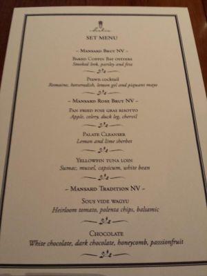 mansard champagne dinner menu