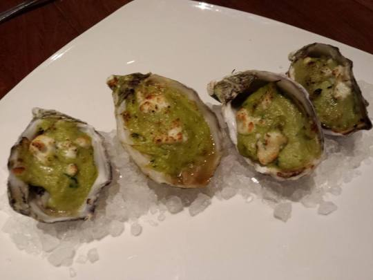 baked oysters in feta cheese gratin
