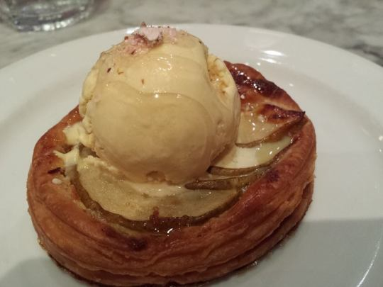 pear tart pastry with slated caramel ice cream