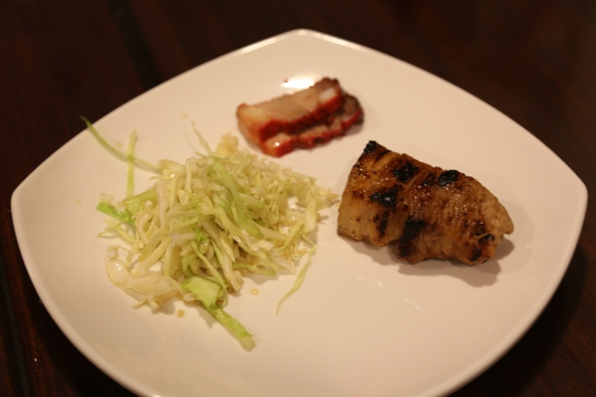 miso belly pork, char siu & ponzu salad