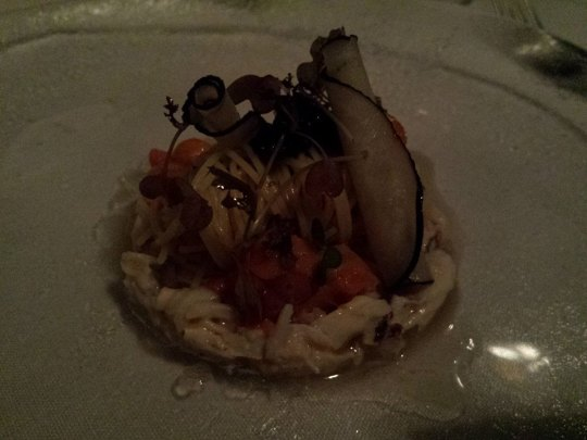 cold pasta with mud crab, caviar & uni
