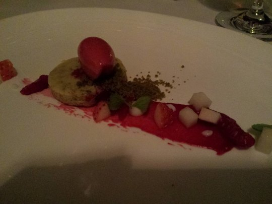 pistachio cake, green tea soil, raspberry sorbet