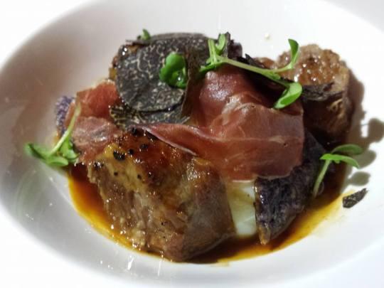 iberico pork cheeks, joselito proscuito, egg confit & winter truffles