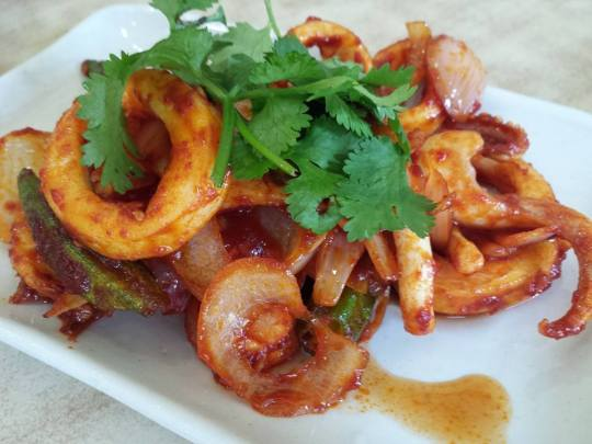 chilli sotong (squid) S$10