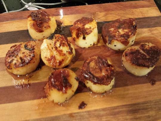 """pan-grilled giant hokkaido scallops (some 2"""" diameter)"""