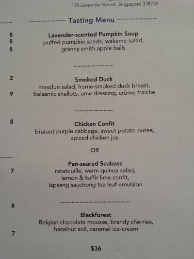 4-course tasting menu S$36