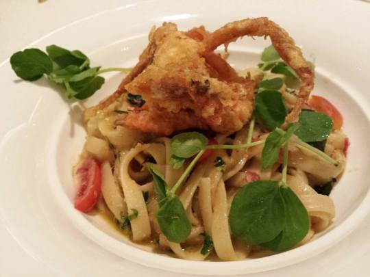 salted egg soft shell crab fettucine S$15