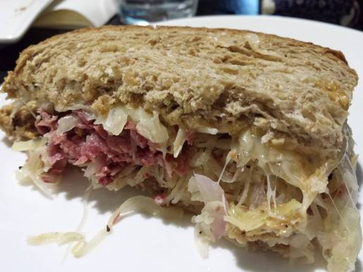 corn beef hot reuben sandwich