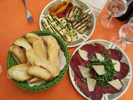 beef carpaccio, grilled eggplants, toasts