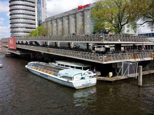multi-storey bicycle park next to amsterdam central