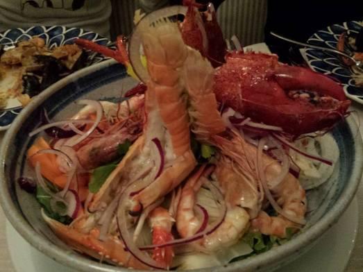lobster, langoustine, prawns seafood platter