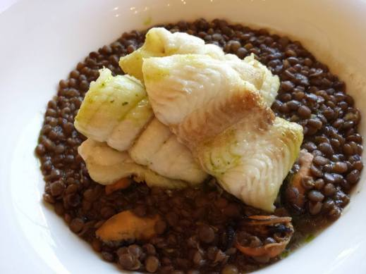 fillet of sole pan seared then baked with lentils & mussels - 20euros