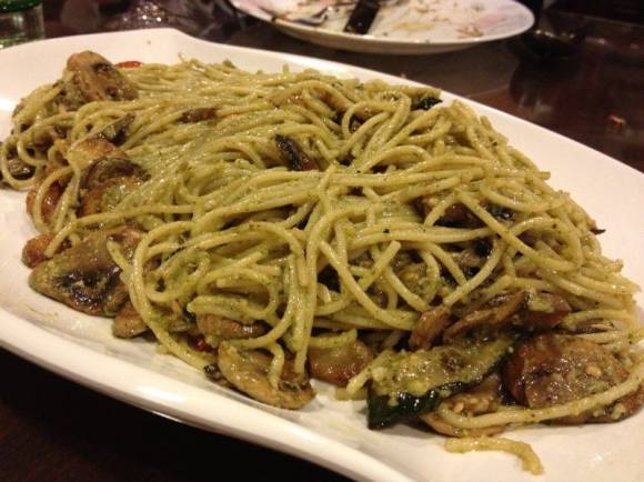 pesto spaghetti with grilled eggplant, zucchini & mushrooms