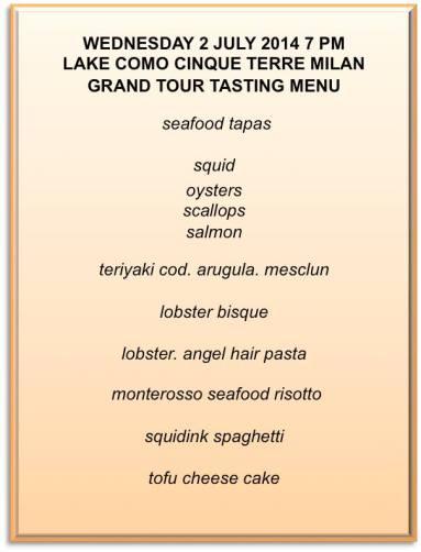 grand tour tasting menu