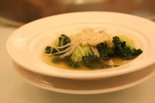 chinese cabbage with golden mushrooms