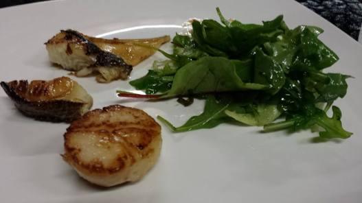 pan seared teriyaki cod, hokkaido scallops, mesclun salad